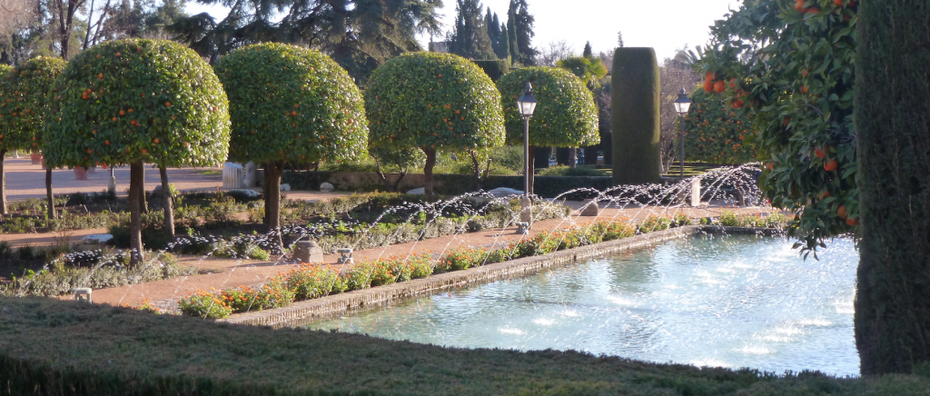 Panorama of the Alcazar gardens in Cordoba
